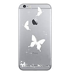 Hamee Designer Case from Japan Thin Fit Crystal Clear Transparent Protective Plastic Hard Cover for iPhone 6 Plus / 6s Plus (Solid Butterflies / White)
