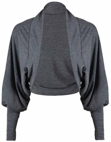 1b9bec2bd4 Photos of New Ladies Batwing Shrug Cropped Cardigan Long Sleeve Womens Plain  Jersey Stretch Bolero Top Dark Grey Size 8 10