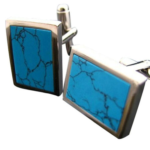 Worldfashion Natural Turquoise Series Men Ethnic Flavor Rectangle Cufflinks