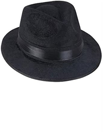 Black Fedora Gangster Hat Costume Accessory