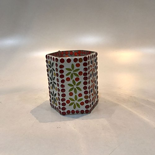 Dlite Crafts Multicolor Polka Design Home Decorative Votive Candle Holder, Set Of 2 PCs - B06XYJYN8N