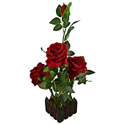 Thefancymart real look artificial Rose Flower plant prototype with Medium Size Wood Pot ( Code-643 )