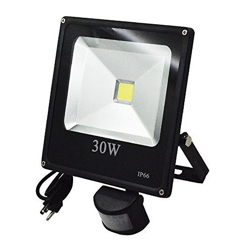 Floodoor LED Motion Sensor Flood Light,30W Daylight White,US 3 Prong Plug,Sufficient Wattage,Infrared Sensor Swtich,Waterproof,Outdoor Garden Yard (Motion Sensor Light No Ground compare prices)