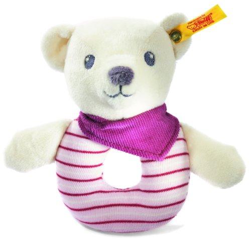 Steiff Knuffi Teddy bear grip toy, white/pink Baby Plush