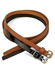 M&S Collection 2 Pack Square Buckle Skinny Belts