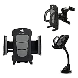 Car Mount, Z-Edge Universal 2 in 1 Phone Holder Kit Air Vent/ Windshield Car Mount Cradle for iPhone 6, 6 Plus, 5S, Galaxy S6, S6 Edge, S5 and other Smartphones