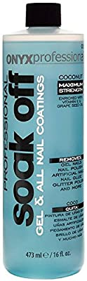 Onyx Professional Soak Off Shellac & Gel Nail Polish Remover Coconut Scented Removes Artificial Nails, Nail Glue, Glitter Polish & More, 16 oz
