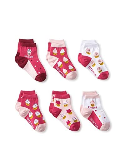 Tic Tac Toes Kid's 6-Pack Girls Combed Cotton Qtr