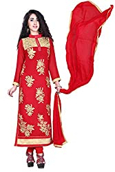 styllaz creation red chanderi cotton embrodaired dress material