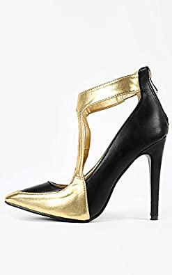 Pointy Toe Metallic Two Tone Pumps BLACK GOLD 7 New: In Box