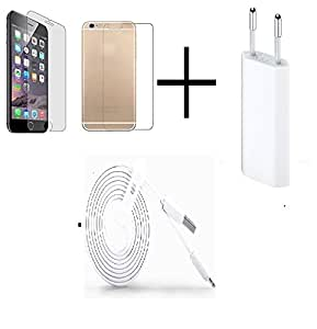 TEMPERED GLASS FOR Iphone 6s (Front & Back) + TRAVEL USB CHARGER + USB CABLE