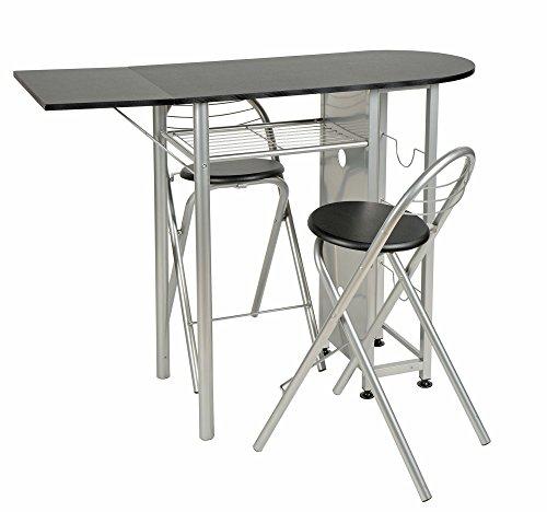 ts-ideen Set 3 pezzi Tavolo estendibile e 2 sgabelli in Alluminio e MDF color Nero per Cucina o Sala da Pranzo