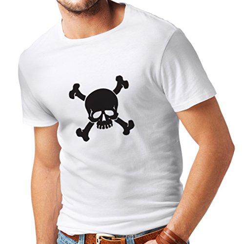 N4059 T-shirt da uomo Teschi incrociate segno di avvertimento (XXXXX-Large Bianco Nero)