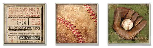 The Kids Room by Stupell Take me Out to the Ballgame Memories 3-Pc Square Wall Plaque Set