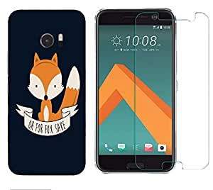 Snoogg Oh For Fox Sake Combo Designer Protective Back & Shatter Proof Tempered Glass For HTC DESIRE 10 LIFESTYLE