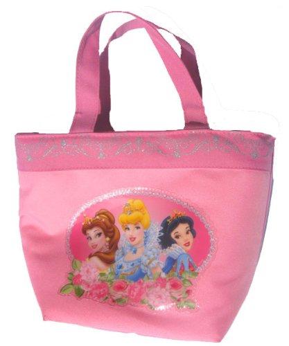 Disney Princess Girls Pink Lunch Box Tote Bag Featuring Belle, Cinderella, & Snow White