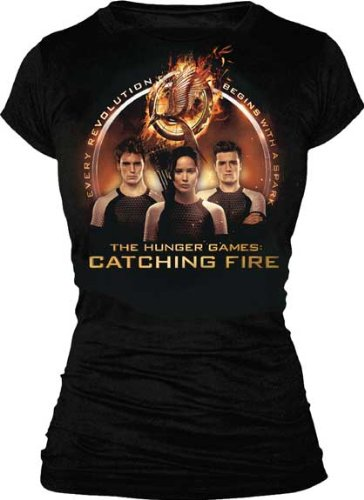 The Hunger Games 2: Catching Fire Trio with Spark Quote Juniors Black T-Shirt | M
