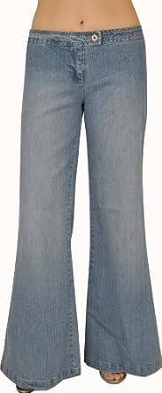 Womens Lt. Sand Blue Stretch Wide Legs Denim Jeans #L210 Size: 1