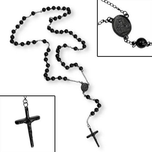 Rosary Bead Necklace - Stainless Steel with Black IP Plating - Length: 33