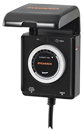 Wall Timers For Outside Lights : Sylvania SA205 Heavy Duty Outdoor Timer - Wall Porch Lights - Amazon.com