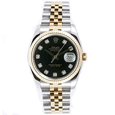 Rolex Mens New Style Heavy Band Stainless Steel & 18K Gold Datejust Model 116233 Jubilee Band Fluted Bezel Black Diamond Dial