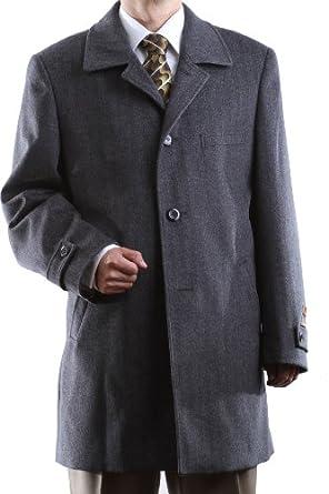 Men's Gray Luxury Wool Cashmere Three-quarter Length Topcoat, Size Regular 36