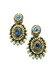 Ethnic Fashion Earrings With Pearl And Coloured Crystals In Gold Finish, Blue