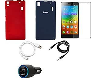 NIROSHA Tempered Glass Screen Guard Cover Case Car Charger USB Cable for Lenovo K3 Note - Combo