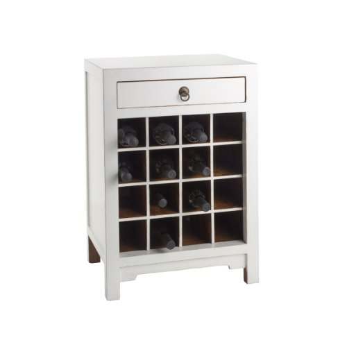 Antique Revival Wine Cabinet End Table, White