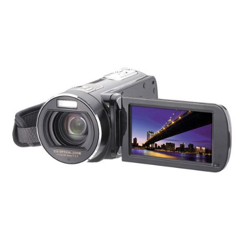 Easypix DVX 5233 Optimus Camcorder (7,6 cm (3 Zoll) Touchscreen Display, 23-fach opt. Zoom, Flash MB, Full-HD) schwarz