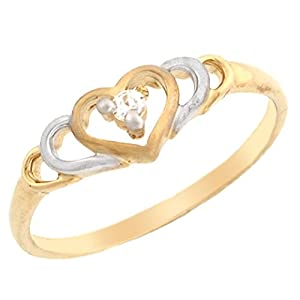 14k Two-Tone Gold Extended Heart Promise Ring with Round Diamond