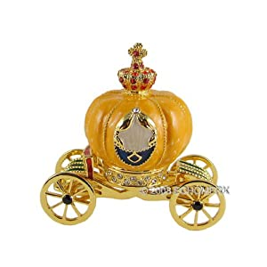 Cinderellas Pumpkin Coach Trinket Jewelry Box Bejeweled
