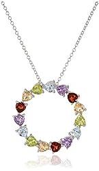 "Sterling Silver Multi-Gemstone Heart Circle Pendant, 18"""