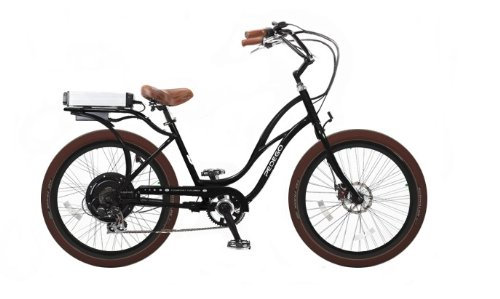 Pedego Interceptor Step-Through Cruiser Black Tire/Seat Package: Brown Balloon