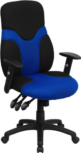 Ergonomic High-Back Mesh Task Chair with Adjustable Arms Upholstery: Black and Blue