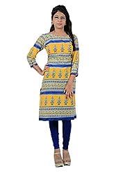Kittus Fashion House Women's Cotton Straight Kurti (Kskrt-1095_Yellow_Small)