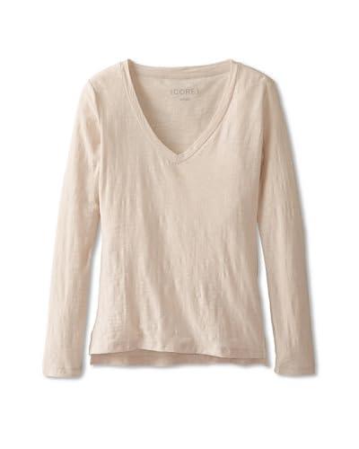 CORE Women's V-Neck Long Sleeve Tee  [Beige/Pink]
