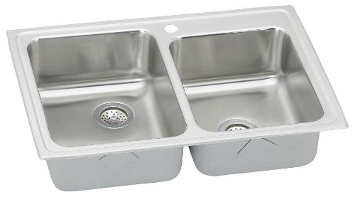 Elkay LR2501 1-Hole Gourmet Lustertone Stainless Steel 33-Inch x 22-Inch Double Basin Top-Mount Kitchen Sink