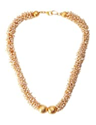 Angells Kreate Pearl Rush Gold Metal Choker Necklace For Women