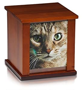 Pet Urn Peaceful Pet Memorial Keepsake Urn,Photo Box Pet Cremation Urn,Dog Urn,Cat Urn ,Small Animal Urn, Size,50 cu.in., Birch Wood,Color, Cherry