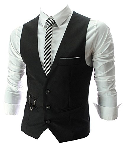 Izacu Flocc Mens Top Design Casual Slim Skinny Vestito Gilet Gilet Black UK L