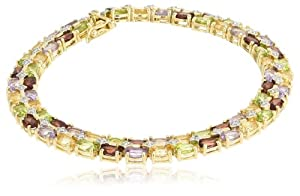 18k Yellow Gold Plated Sterling Silver Multi-Gemstone and Diamond Bracelet, 8.25