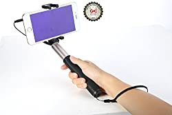 ROCK 3.5mm Audio Wire Control Extendable Monopod Handheld Selfie Stick - Gold