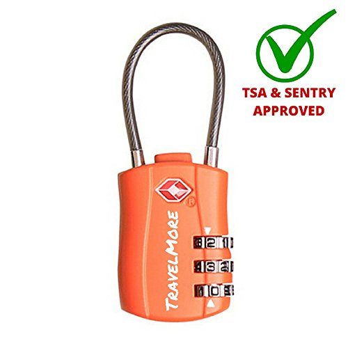 TSA Approved Travel Combination Cable Luggage Locks for Suitcases & Backpacks – 1 Pack (Orange)