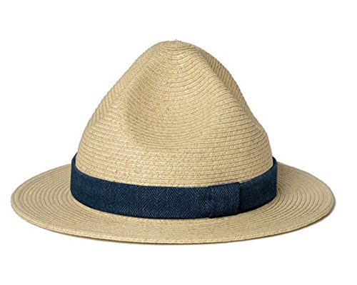 (ゴーヘンプ)GOHEMP   MOUNTAIN STRAW HAT/HERRINGBONE INDIGO ナチュラル