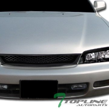 Topline Autopart JDM Black Style Mesh Type Front Hood Bumper Grill Grille ABS 94-97 Honda Accord R (Bumper For Honda Accord 1995 compare prices)