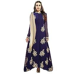ZFashion Karishma Kapoor Navy Blue & Beige Color Faux Georgette Anarkali Dress
