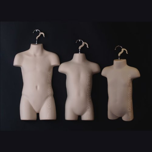 Infant + Toddler + Child Flesh Mannequin Forms Set - Use With Boys & Girls 9mo-7 Kid sizes