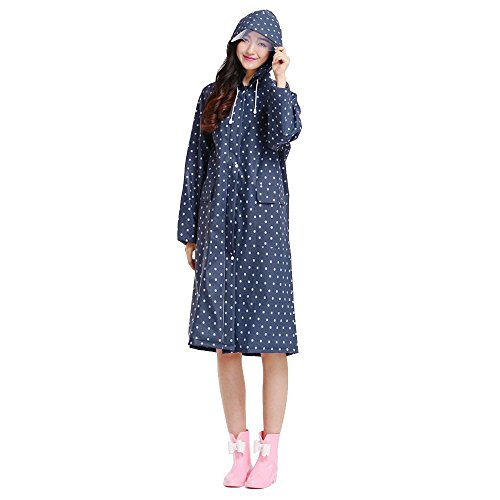 Ezyoutdoor® Outerwear Raincoat with Zipper packable Slicker Poncho Bicycle Ridding Cape Women Men Cycling Bike Waterproof Rain Cape for Outside Camping Hiking Walking Travel (blue point) (Toilet Seat For Trailer Hitch compare prices)