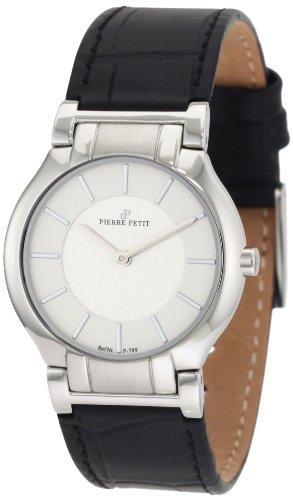 Pierre Petit P-799B - Reloj analógico de cuarzo para mujer con correa de piel, color negro